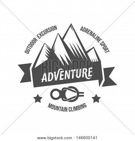 Mountain adventure and travel retro emblem, logo, badge