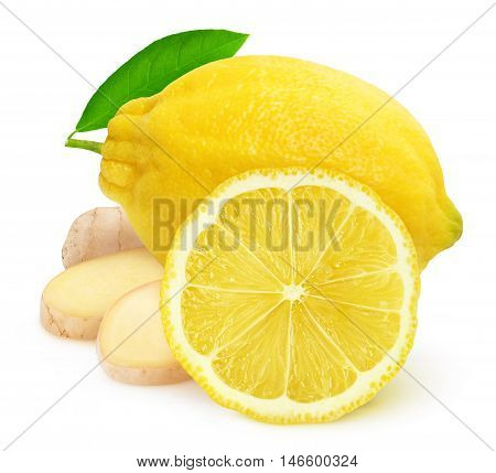 Isolated Lemon Fruit And Ginger