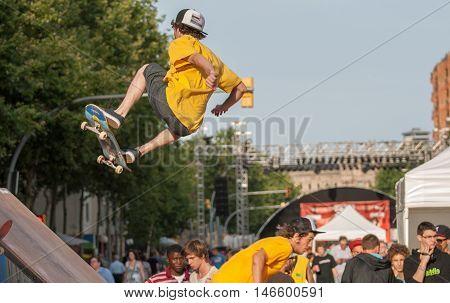 JUNE 18 2011 - BARCELONA SPAIN: Skateboarding at Barcelonas street