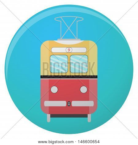 Train and metro symbol old tram icon. Vector flat illustration