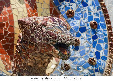 JUNE 16 2011 - BARCELONA SPAIN: Snake in Barcelona Park Guell of Gaudi