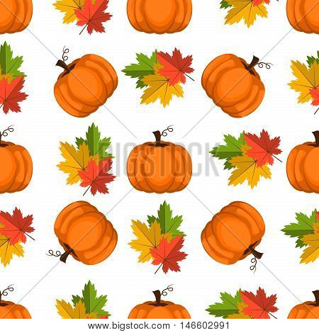 Halloween seamless pattern decoration wallpaper art thanksgiving plant. Background with pumpkin vector orange october pattern. Autumn holiday season pumpkin pattern harvest thanksgiving plant.