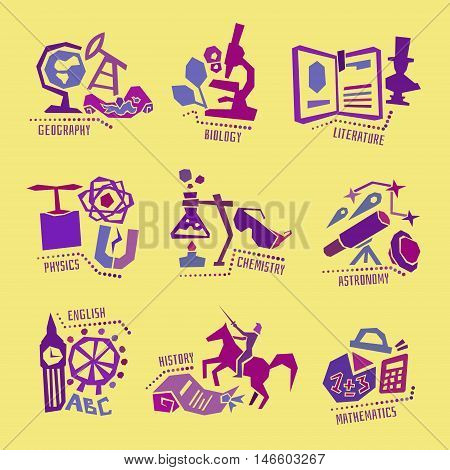 Set with school subjects, education icons for web design. Vector illustration