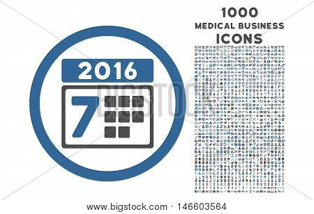 6 Week Calendar rounded vector bicolor icon with 1000 medical business icons. Set style is flat pictograms, cobalt and gray colors, white background.