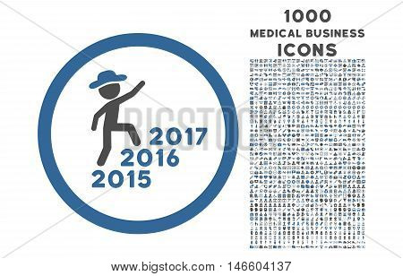 Gentleman Steps Years rounded vector bicolor icon with 1000 medical business icons. Set style is flat pictograms, cobalt and gray colors, white background.