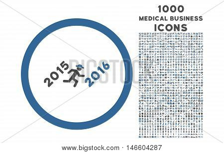 Run to 2016 Year rounded vector bicolor icon with 1000 medical business icons. Set style is flat pictograms, cobalt and gray colors, white background.