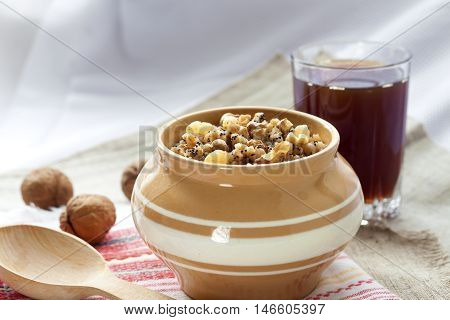 Kutia - sweet grain pudding the traditional first dish of Christmas Eve supper served in Eastern European countries
