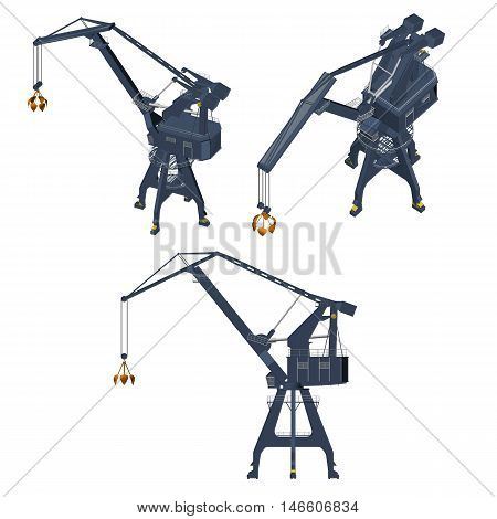 Set with a crane from different angles. Isometric view. Vector illustration.