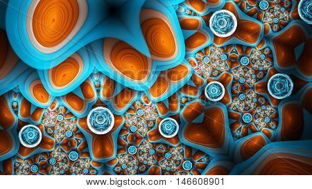 Exotic pattern. Extraterrestrial life forms. 3D surreal illustration. Sacred geometry. Mysterious psychedelic relaxation pattern. Fractal abstract texture. Digital artwork graphic astrology magic