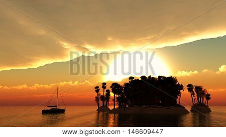 Silhouette of island in tropical tranquil sea with palm trees and big red sun set rays behind them. 3D illustration