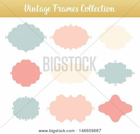 Vintage vector frames on white background. Isolated decorate shapes for text collection.