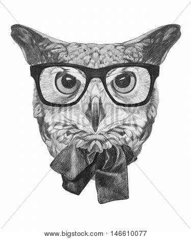 Original drawing of Owl with glasses and bow tie. Isolated on white background.