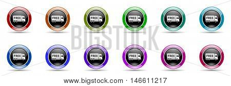 free delivery round glossy colorful web icon set