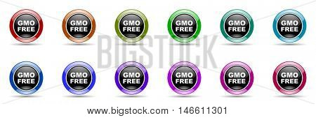 gmo free round glossy colorful web icon set