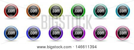 com round glossy colorful web icon set