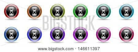 time round glossy colorful web icon set