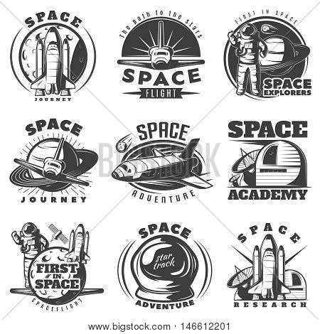 Space black white emblems of journeys and academies with astronaut shuttle scientific equipment isolated vector illustration