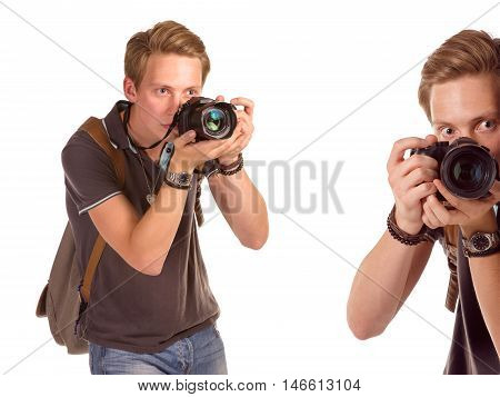 Closeup portrait of a young man taking a picture from corner over white background