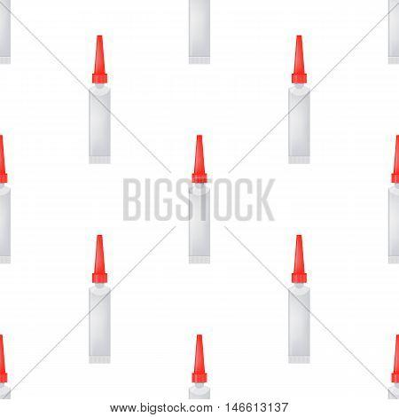 Glue Seamless Pattern on White. Set of Plastic Glue Tubes Background