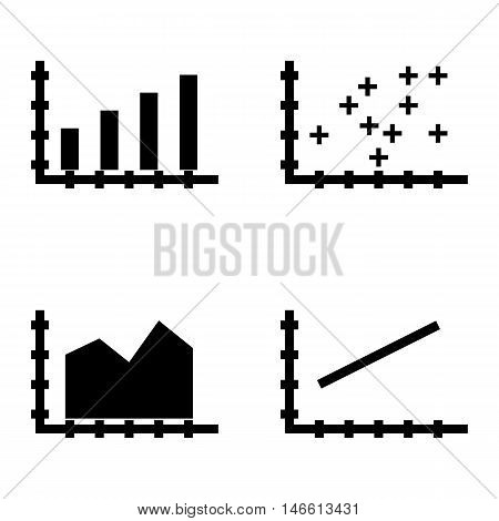 Set Of Statistics Icons On Bar Chart, Line Chart And Plotter Point Chart. Statistics Vector Icons Fo