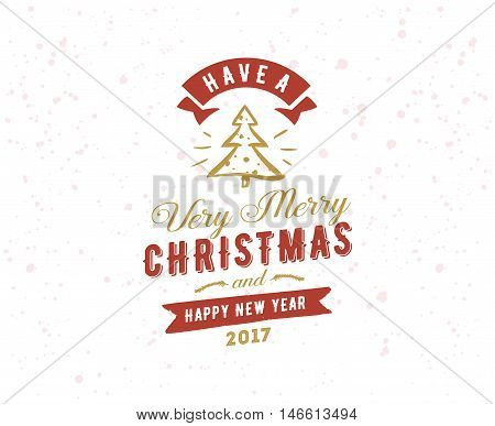 Merry Christmas and Happy New Year text design. Vector logo, typograpy. Usable as banner, greeting card, gift package etc.