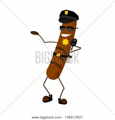 The sausage police officer cartoon characters with a cap. The policeman dressed in uniform and glasses. On the cap is a sign.