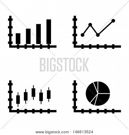 Set Of Statistics Icons On Bar Chart, Pointed Line Chart And Pie Chart. Statistics Vector Icons For