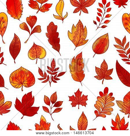 Autumn foliage seamless pattern with colorful branches and leaves of different shape on white background vector illustration