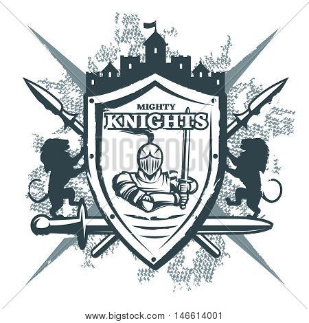 Mighty knights print with warrior at shield castle crossed weapon  heraldic symbols on grunge background vector illustration