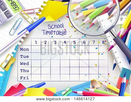 School weekly timetable with colorful school equipment