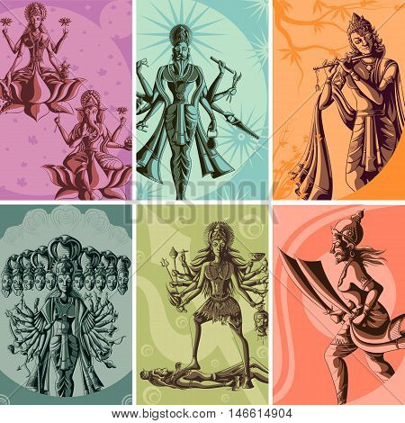 Indian God and Goddess Religious Vintage Poster. Vector illustration