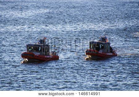 BAR HARBOR, USA - OCTOBER 15, 2015: Two ships of the U.S. Coast Guard in Bar Harbor (Maine USA)