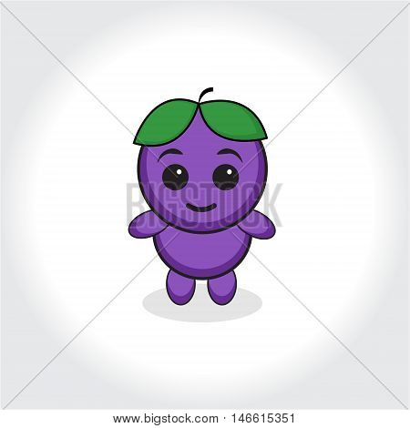 Grapes character plum character. Grapes or plums mascot logo. Vector illustration