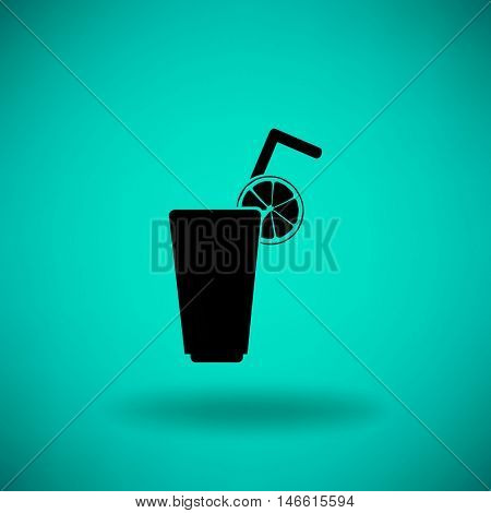 Flat icon. A glass with a straw. Citrus juice.