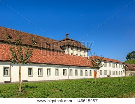 Einsiedeln, Switzerland - 8 September, 2015: buildings of the Einsiedeln Abbey view from the courtyard of the abbey. Einsiedeln Abbey is a Benedictine monastery in the town of Einsiedeln in the Swiss Canton of Schwyz.