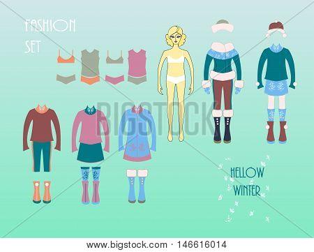 Girls fashion set . Cute dress up doll . Autumn - winter season .