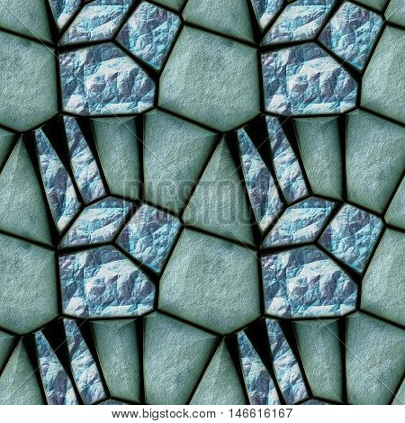 Seamless abstract relief pattern with glittering blue and green crystals resembling aquamarine. Green and blue background of cracked rock structure with gemstones