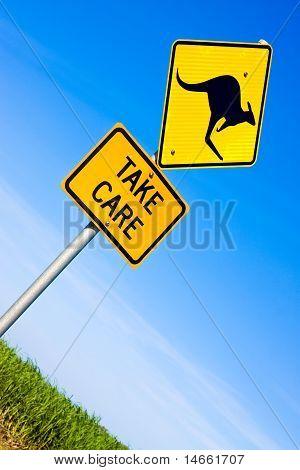Closeup Of Kangaroo Road  Sign