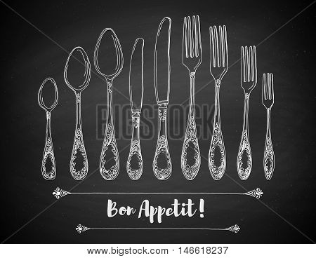 Hand drawn vector illustration of curly ornamental silver tableware, cutlery on a black chalkboard background and texture. Hand drawn design element. Vector Illustration.