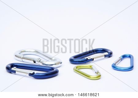 Isolated carabiners on white background with copyspace