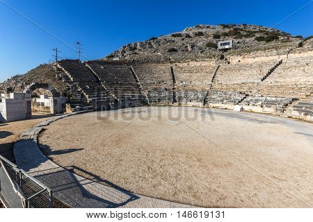 Panoramic view of Ancient Theater in the archeological area of Philippi, Eastern Macedonia and Thrace, Greece