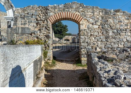 Ruins of Entrance of Ancient amphitheater in the archeological area of Philippi, Eastern Macedonia and Thrace, Greece