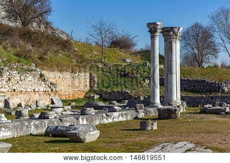 Ruins of columns in the archeological area of Philippi, Eastern Macedonia and Thrace, Greece