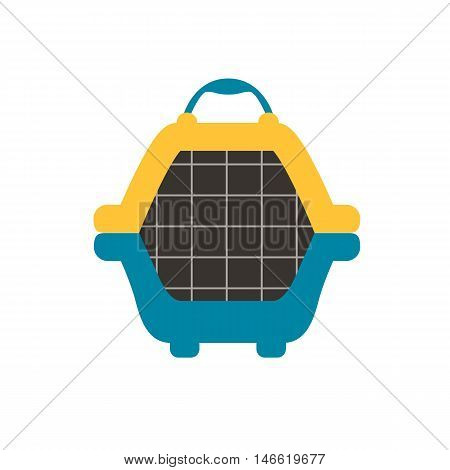 Animal carrier flat icon. Vector pet dog carrier illustration. Concept of cartoon animal carrier. Colorful dog carrier icon for your design. Flat cartoon animal carrier isolated.
