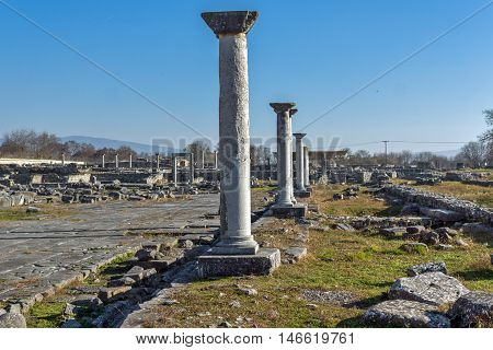Lined Columns in the archeological area of ancient Philippi, Eastern Macedonia and Thrace, Greece