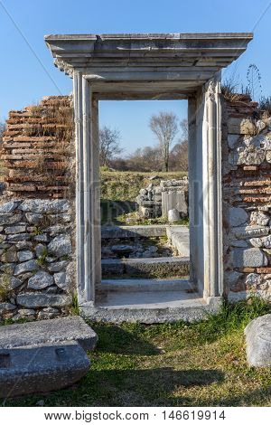 Door in Basilica in the archeological area of ancient Philippi, Eastern Macedonia and Thrace, Greece