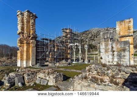 Panorama of Basilica in the archeological area of ancient Philippi, Eastern Macedonia and Thrace, Greece