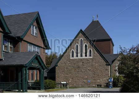 The St. Saviour's Episcopal Church in Bar Harbor (Maine USA) with its historic buildings constructed primarily in the late 19th and early 20th centuries