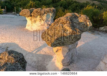 Sunrise view of rock formation The Stone Mushrooms, Kardzhali Region, Bulgaria