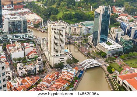 SINGAPORE, REPUBLIC OF SINGAPORE - JANUARY 08, 2014: Aerial view of the Singapore city skyline